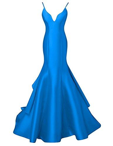 Amore Longue Des Femmes De Mariée Sirène Bal Spaghetti Robe Bretelles Robe De Mariée Bleu
