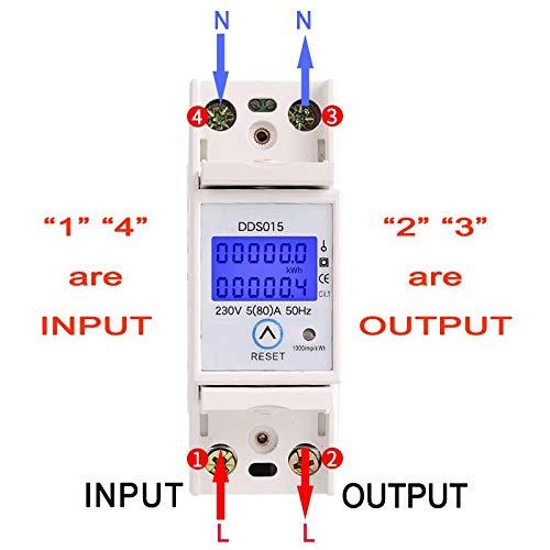 Moligh doll Rail din Monophas/é Wattm/ètre Consommation Electrique en watts Compteur d/énergie Electronique kWh 5-80A 230V AC 50Hz avec Fonction de R/éinitialisation