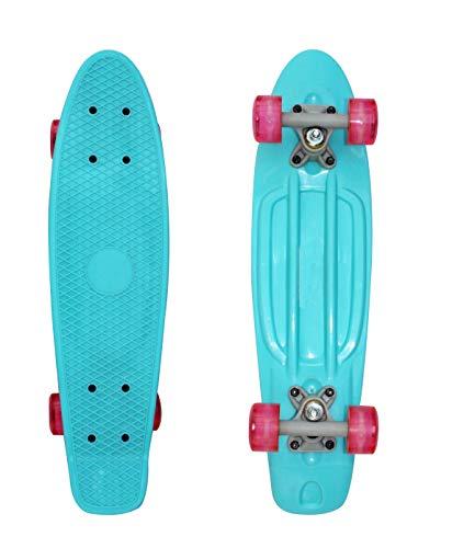 SK8MEMO 22inch Light Blue Mini Skateboard, Mini Cruiser Skateboard for Beginners with ABEC-7 Bearing and Soft PU Wheels