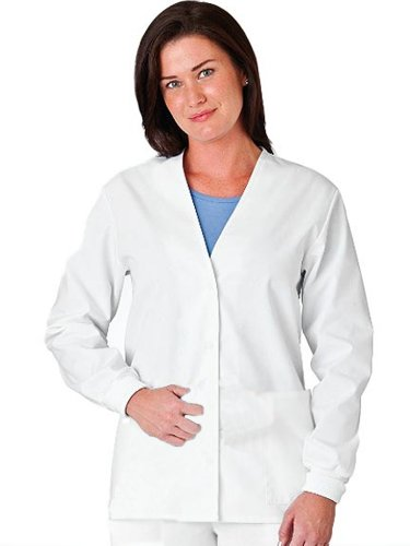 White Swan Fundamentals Women's Scrub Cardigan Jacket, White, Size X-Small