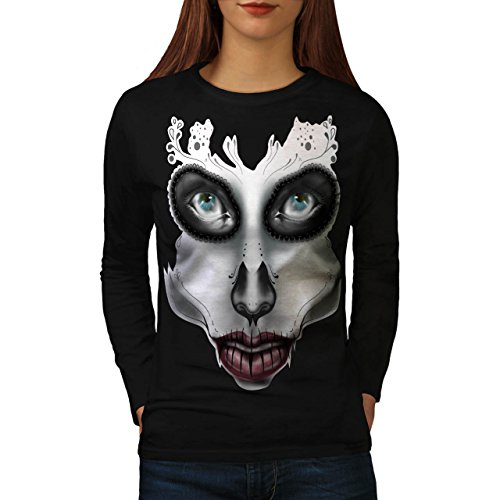 [Sugar Skull Make Up Women NEW S Long Sleeve T-shirt | Wellcoda] (Sugar Skull Costume Tumblr)