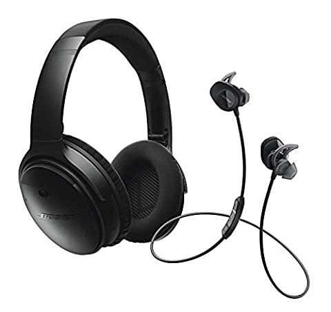 Bose QuietComfort 35 (Series I) Noise Cancelling Over-ear (Black) & SoundSport In-ear (Black) Wireless Bluetooth Headphone (In Ear Noise Cancelling Bose)