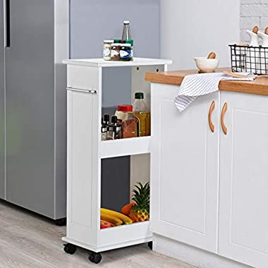 Yaheetech Wooden Slimline Rolling Cart Bathroom Kitchen Organizer Narrow Storage Cart Rack with 2 Shelves and Wheels Space Saver