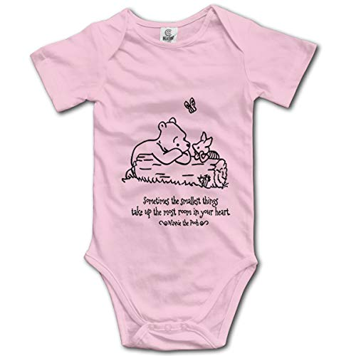 NEXT DAY ONE Donkey Piglet Winnie Pooh Eeyore Baby Bodysuit Short Sleeve Onesies for Boys and Girls Pink