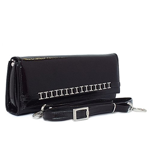 Women's Shoulder Blk Crackl Kaiser In Peter Dressy Crackle Black Bag Clutch Mimi Patent wnaqSxB