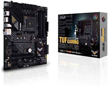 ASUS TUF Gaming B550-PLUS AMD AM4 (3rd Gen Ryzen ATX Gaming Motherboard (PCIe 4.0, 2.5Gb LAN, HDMI 2.1, BIOS Flashback, USB 3.2 Gen 2, Addressable Gen 2 RGB Header and Aura Sync)
