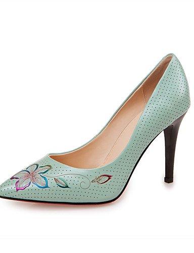 GGX/ Damenschuhe-High Heels-Büro / Lässig-Leder-Stöckelabsatz-Absätze / Spitzschuh-Blau / Weiß blue-us7.5 / eu38 / uk5.5 / cn38