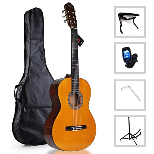 WINZZ 39 Inches Classical Guitar Full Size Nylon String Student Kids Acoustic Guitar with Bag, Tuner, Stand, Capo