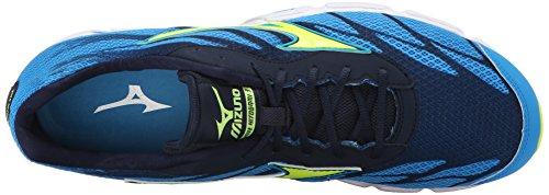 Mizuno Hombres Wave Hitogami 3 Running Shoe Dude Azul / Amarillo De Seguridad