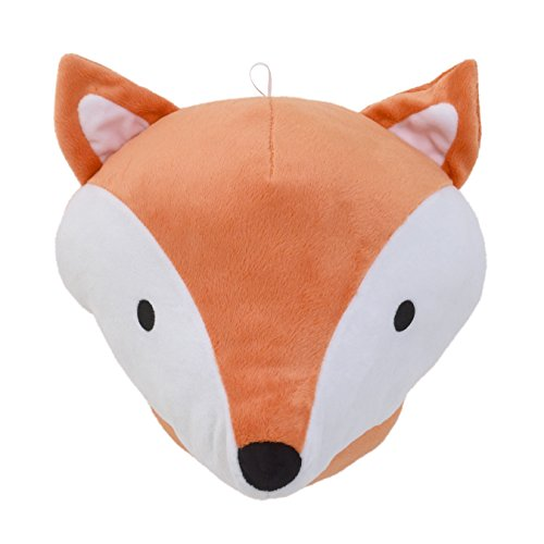 NoJo Aztec Mix & Match Plush Head Wall Decor, Orange, White, Black, Orange Fox