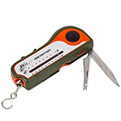 The Deluxe Fishing Tool is a useful multifunction gadget for hunters and people who love to fish. This handy fishing gadget collects a number of accessories into one compact device. Tool contains tape measure, weighted fish scale, serrated kn...