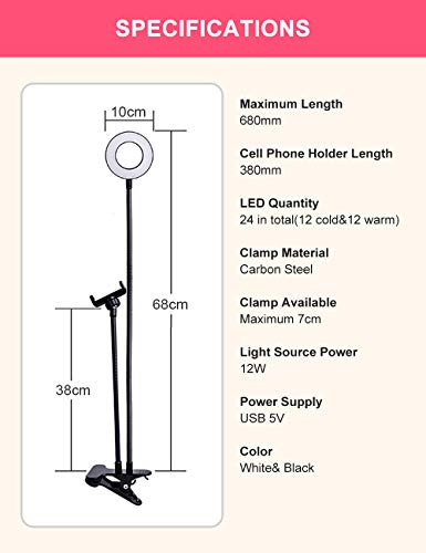 L0WKI Ring Light with Stand for Live Stream-Makeup-Chat,Cell Phone Tripod[3 Light Modes][10 Level Brightness] with Wireless Remote Controller Ring Light for iPhone and Android by Lowki (Image #6)