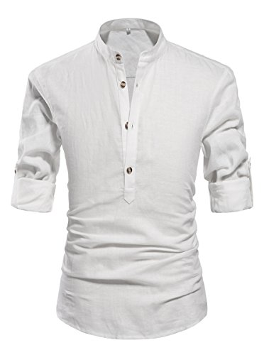 NITAGUT Men Henley Neck Long Sleeve Daily Look Linen Shirts White-US -