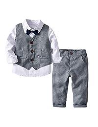 Camidy 1-6T Kid Boys Suits Long Sleeve Bowtie Shirt Waistcoat Long Pants Tuxedos 3pcs