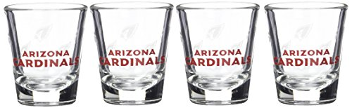 NFL Arizona Cardinals Wordmark Satin Etch Shot Glass, 2-ounce, 4-Pack