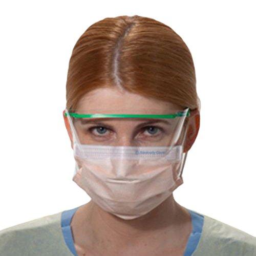 Halyard Health 47107 Fluidshield Level 3 Procedure Mask, Pleat Style, Fog-Free, Non-Sterile, Orange (10 Boxes of 40, 400 Total)