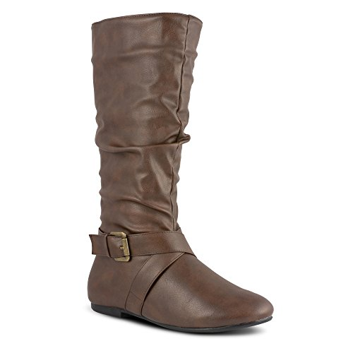 Twisted Women's Shelly Faux Leather Mid-Calf Scrunch Boot with Side Buckle -...