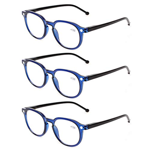 Spring Hinged Readers - READING GLASSES 3 Pair Retro Round Spring Hinged Readers Great Value Quality Glasses for Reading (3 Pack Blue, 2.75)