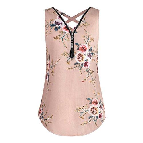 Tank zurück Ausschnitt Unregelmäßigkeit Damen F T Blumenmuster Tops Unterhemd Elegant Hemdbluse Bluse Sommer Rovinci V Ärmellos Reißverschluss Shirt aushöhlen Frauen Chiffon Weste Vorne Svw4gq8A