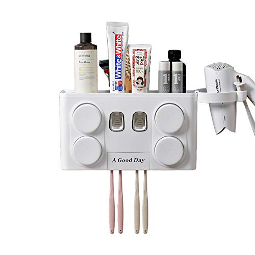 N/N Bathroom Wall Mounted Multifunctional Toothbrush Holder Covered and Automatic Dual Toothpaste Dispenser Set, Toothbrush and Toothpaste Organizer for Kids and Adults(White)