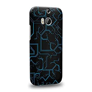 Case88 Premium Designs Art Printed Cyan Cyber Circuit Board Protective Snap-on Hard Back Case Cover for HTC One M8