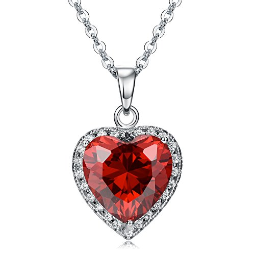 Heart Red Necklace Glass (Vesil Red AAA Cubic Zirconia Heart Pendant Necklace for Women Necklaces Gifts for Her)