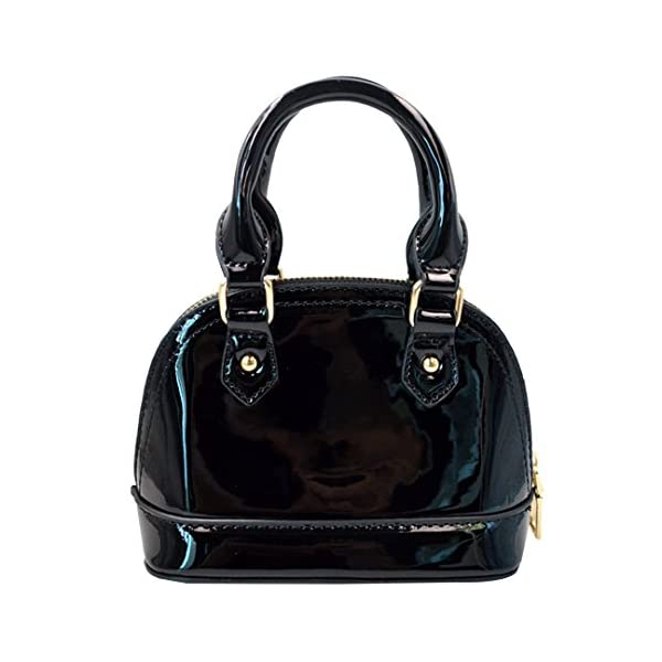 Zip Around Dome Patent Leather Satchel Mini Top Handle Toe Bag Shell Shape Purse Handbags