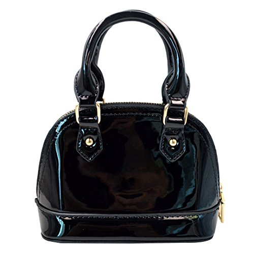 Zip Around Dome Patent Leather Satchel Mini Top Handle Toe Bag Shell Shape Purse Handbags (Shape Handbag Purse Bag)