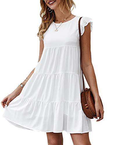 KIRUNDO Women's Summer Dress Sleeveless Ruffle Sleeve Round Neck Mini Dress Solid Color Loose Fit Short Flowy Pleated…