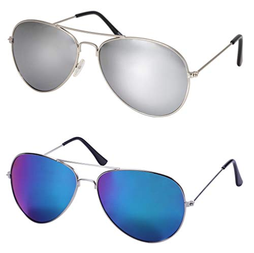 WODISON Vintage Mirrored Aviator Sunglasses 2Packs for Women Men Reflective Lens Metal Frame (Kinder Aviator Sonnenbrille Billig)