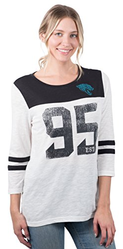 Icer Brands NFL Jacksonville Jaguars Women's T-Shirt Vintage 3/4 Long Sleeve Tee Shirt, Small, ()