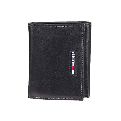 Tommy Hilfiger Men's Trifold Wallet - Sleek and Slim Includes ID Window and Credit Card Holder, black casual, One Size