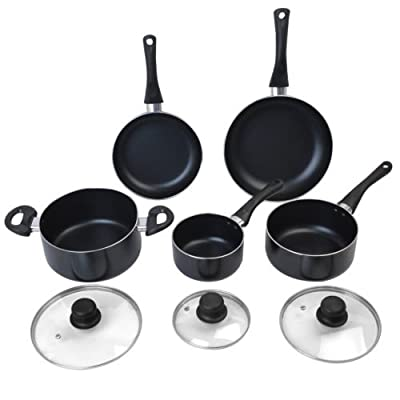New Non Stick 8 Piece Cookware Set Aluminum Soft Handle Kitchen Cooking Pan Pots by Nikkycozie