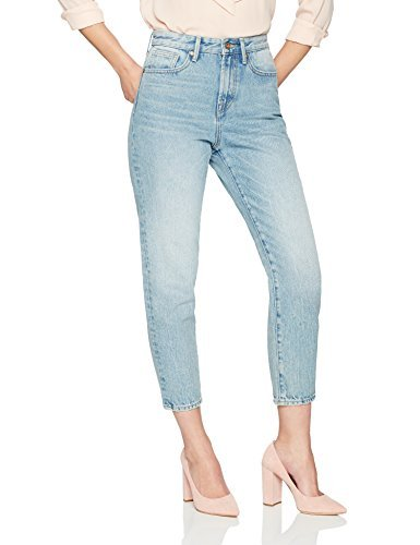 Denim Bloom Women's High Waisted Tapered Fit Non Stretch Jean 28X26 Authentic Blue