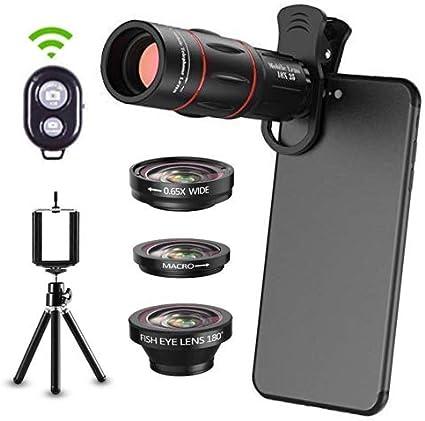 6 en 1 Kit de lentes de cámara para teléfonos Smartphone Teleobjetivo 18X, lente gran angular, macro, ojo de pez, trípode, obturador remoto para iPhone Samsung y la mayoría de teléfonos inteligentes: