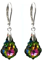 Queenberry Vitrial Medium Swarovski Elements Crystal Sterling Silver Leverback Dangle Earrings