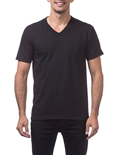 (Pro Club Men's Heavyweight V-Neck T-Shirt, 4X-Large, Black)
