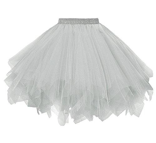 Dressever Vintage 1954s Short Tulle Petticoat Ballet Bubble Tutu Silver XXLarge/XXX-Large -
