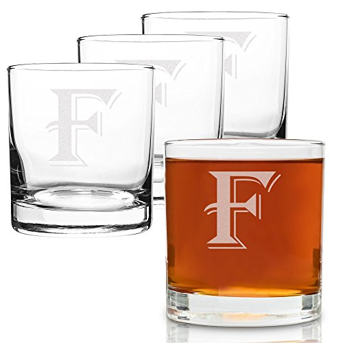 On The Rox 4 Piece Glass Set Engraved with F-Monogram, (Engraved Four)