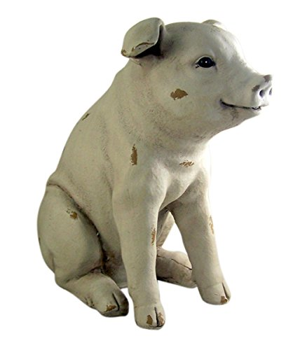 (Rustic Sitting Pig 14.5 Inch Statue)