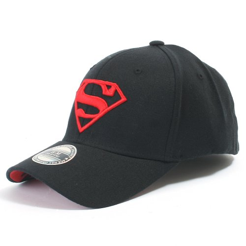 ililily Superman Baseball Cap Superman Shield Embroidery Fitted Trucker Hat, Black & Red, Large (Superman Classic Cap)
