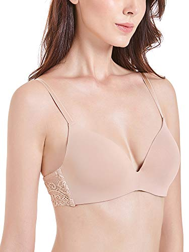 DotVol Women's Soft Foam Seamless Smoothing Contour Wire-Free Ultimate T-Shirt Bra(34A, Nude) (Bra Nude T-shirt)
