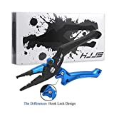 Fishing Pliers Hook Remover Tool with Lanyard and Sheath, Suitable for Saltwater and Freshwater (Blue & Black Large)