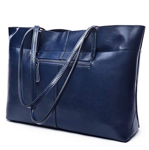 Covelin Women's Handbag Genuine Leather Tote Shoulder Bags Soft Hot Blue by Covelin (Image #5)