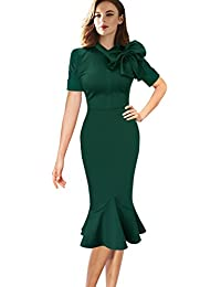 Womens Celebrity Vintage Bowknot Party Cocktail Stretch Bodycon Dress