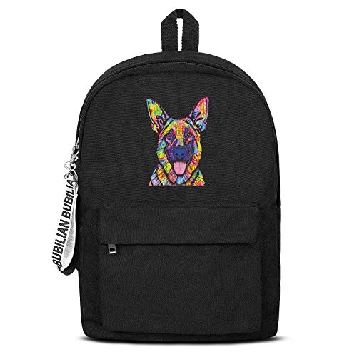 - German Shepherd Dog Pop Art Women Men Water Resistant Black Canvas School Backpack Laptop Backpack