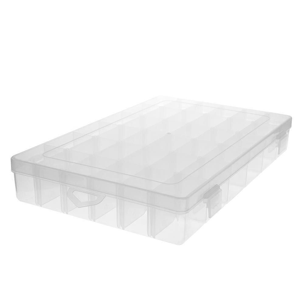 VANKER Ranuras 36 cuadrí culas compartimentos Claro joyerí a PP ajustable del organizador del almacenaje caja -- blanco