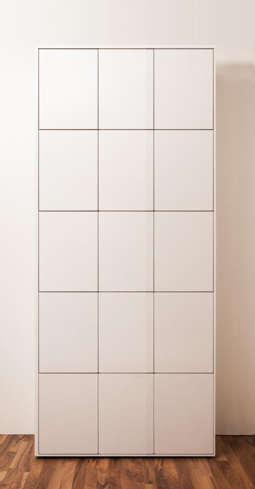 SimO H2448 B1086 T400mm Büromöbel weiß glänzend mit Kabelkanal, 15 Türen B343mm