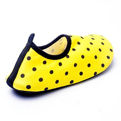 HYSENM Kinder Barfußschuhe Strandschuhe Wasserschuhe Lycra hautfreundlich leicht atmungsaktiv für Wassersport Hausschuhe Gelb