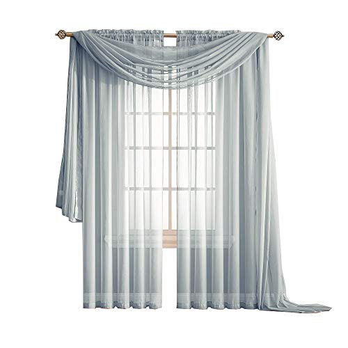 Warm Home Designs Extra Long Grey Silver Sheer Window Scarf. Valance Scarves are 56 X 216 Inches in Size. Great As Window Treatments, Bed Canopy Or for Decorative Project. Color: Silver 216 ()